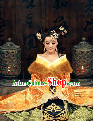 Traditional Ancient Chinese Sexy Costume, Elegant Hanfu Clothing Chinese Tang Dynasty Imperial Emperess Embroidered Dance Clothing for Women