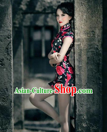 Traditional Ancient Chinese Young Women Cheongsam Dress, Republic of China Tangsuit Stand Collar Black Rose Short Cheongsam for Women