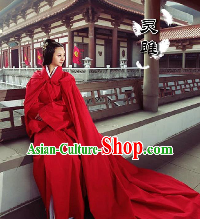 Traditional Ancient Chinese Imperial Princess Red Cloak, Elegant Hanfu Clothing Chinese Han Dynasty Imperial Empress Cloak for Women