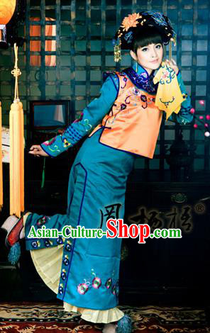 Traditional Ancient Chinese Imperial Princess Costume, Chinese Qing Dynasty Manchu Lady Dress, Chinese Mandarin Robes Princess Embroidered Clothing for Women