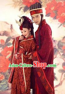 Traditional Ancient Chinese Imperial Emperess and Emperor Red Costume Complete Set, Chinese Han Dynasty Bride and Bridegroom Wedding Dress, Chinese Emperess Emperor Trailing Clothing for Women for Men