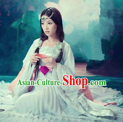 Traditional Ancient Chinese Imperial Consort Sexy Costume, Elegant Hanfu Clothing Chinese Tang Dynasty Imperial Emperess Tailing Blue Clothing for Women