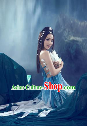 Traditional Ancient Chinese Imperial Consort Sexy Costume, Elegant Hanfu Clothing Chinese Tang Dynasty Imperial Emperess Tailing Feather Chiffon Clothing for Women
