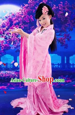 Traditional Ancient Chinese Children Costume, Elegant Hanfu Clothing Chinese Tang Dynasty Young Lady Embroidered Clothing for Kids