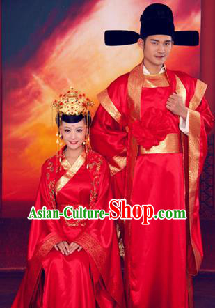 Traditional Ancient Chinese Imperial Consort and Emperor Wedding Costume Set, Elegant Hanfu Red Clothing Chinese Han Dynasty Imperial Queen and King Tailing Embroidered Clothing for Women for Men