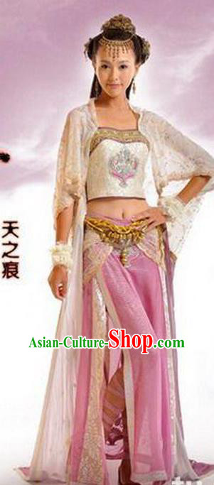 Traditional Ancient Chinese Swordsman Embroidered Pink Costumes for Women