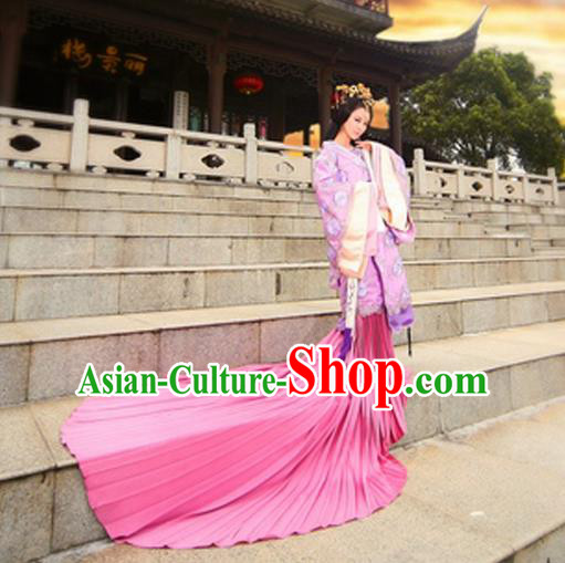 Traditional Ancient Chinese Imperial Consort Costume, Elegant Hanfu Clothing Chinese Han Dynasty Imperial Emperess Tailing Embroidered Gallant Clothing for Women