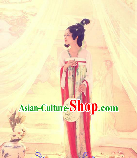 Traditional Ancient Chinese Imperial Consort Costume, Elegant Hanfu Clothing Chinese Tang Dynasty Palace Lady Tailing Clothing for Women
