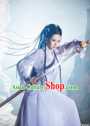 Ancient Chinese Swordsman Elegant Costumes White Hanfu Fairy Clothing for Women