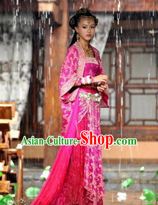 Traditional Ancient Chinese Swordsman Embroidered Rose Costumes for Women