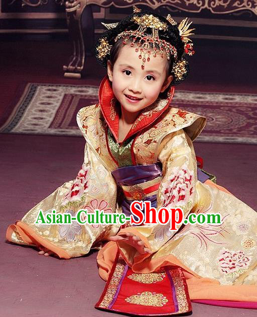 Traditional Ancient Chinese Imperial Empress Children Costume, Children Elegant Hanfu Clothing Chinese Tang Dynasty Imperial Empress Tailing Embroidered Clothing for Kids