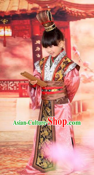 Traditional Ancient Chinese Royal Highness Children Costume, Children Elegant Hanfu Dress Chinese Tang Dynasty Imperial Prince Clothing for Kids