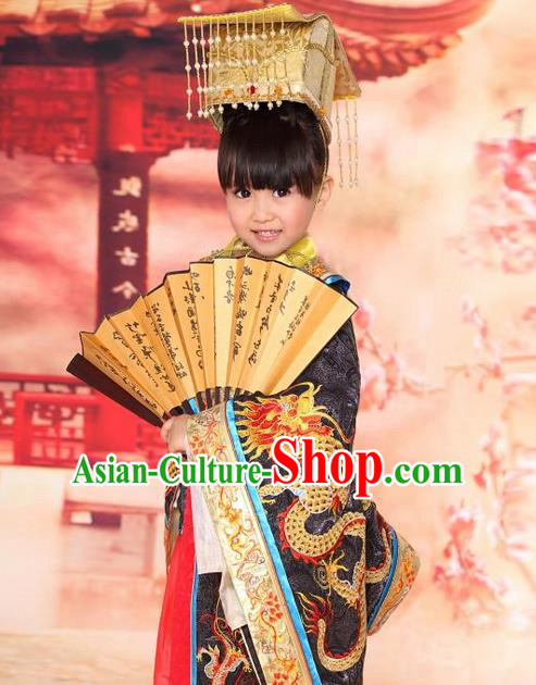 Traditional Ancient Chinese Nobility Emperor Children Costume, Children Elegant Hanfu Dress Chinese Han Dynasty Imperial King Clothing for Kids