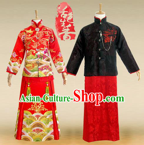 Traditional Ancient Chinese Wedding Costume Complete Set, Chinese Style Wedding Bride and Bridegroom Dress, Restoring Ancient Red Embroidered Dragon and Phoenix Flown, Marriage Toast Cheongsam for Women for Men