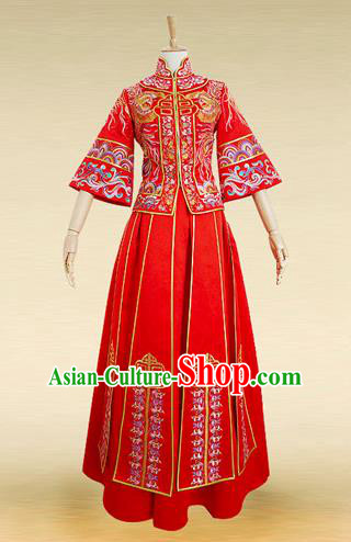 Traditional Ancient Chinese Costume Xiuhe Suits, Chinese Style Wedding Bride Full Dress, Restoring Ancient Women Red Embroidered Phoenix Flown, Bride Toast Cheongsam for Women