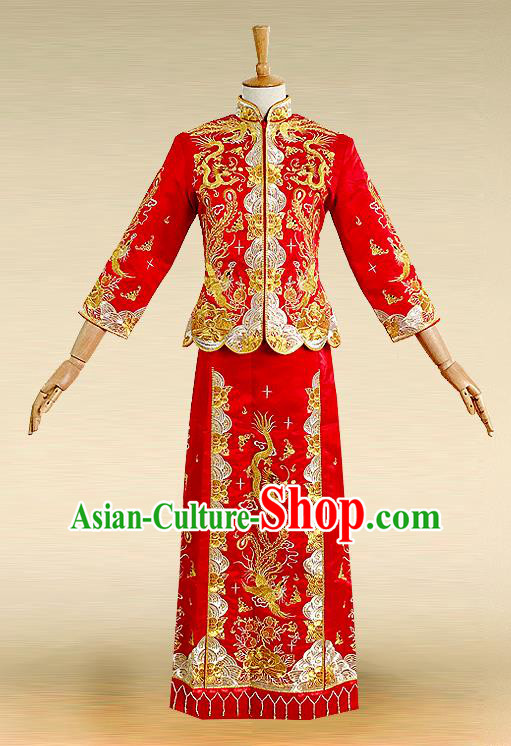 Traditional Ancient Chinese Costume Xiuhe Suits, Chinese Style Wedding Bride Full Dress, Restoring Ancient Women Red Embroidered Dragon and Phoenix Slim Flown, Bride Toast Cheongsam for Women