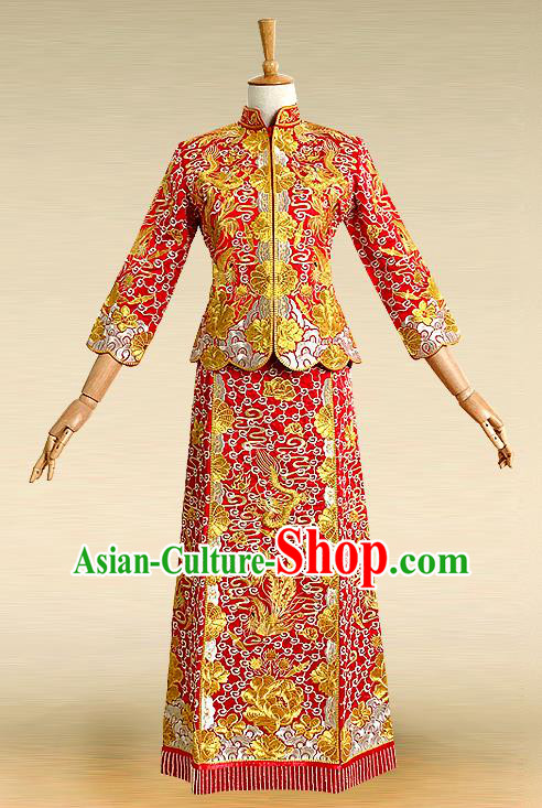 Traditional Ancient Chinese Costume Five God of Goodluck Xiuhe Suits, Chinese Style Wedding Bride Full Dress, Restoring Ancient Women Red Embroidered Dragon and Phoenix Slim Flown, Bride Toast Cheongsam for Women