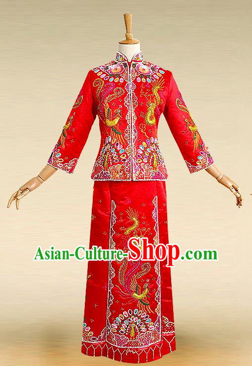 Traditional Ancient Chinese Costume Nail Bead Xiuhe Suits, Chinese Style Wedding Bride Full Dress, Restoring Ancient Women Red Embroidered Dragon and Phoenix Flown, Bride Toast Cheongsam for Women
