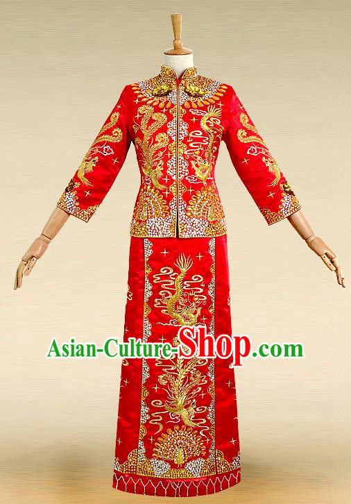 Traditional Ancient Chinese Costume Hot Fix Rhinestone Xiuhe Suits, Chinese Style Wedding Bride Full Dress, Restoring Ancient Women Red Embroidered Dragon and Phoenix Slim Flown, Bride Toast Cheongsam for Women