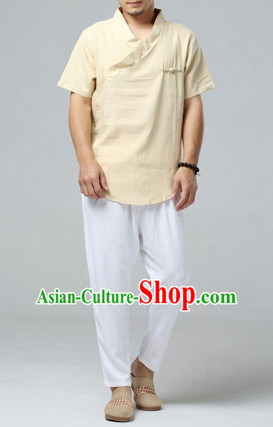 Traditional Top Chinese National Tang Suits Linen Frock Costume, Martial Arts Kung Fu Short Sleeve Yellow T-Shirt, Kung fu Upper Outer Garment, Chinese Taichi Shirts Wushu Clothing for Men
