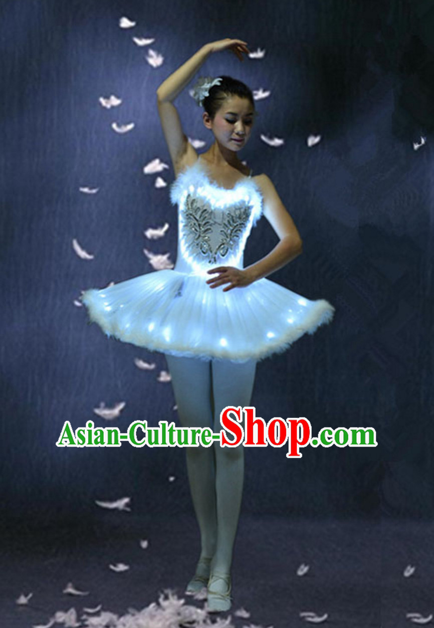 LED Ballet Dance Costumes Professional Dance LED Costumes LED Lights Costume and Headgear Complete Set