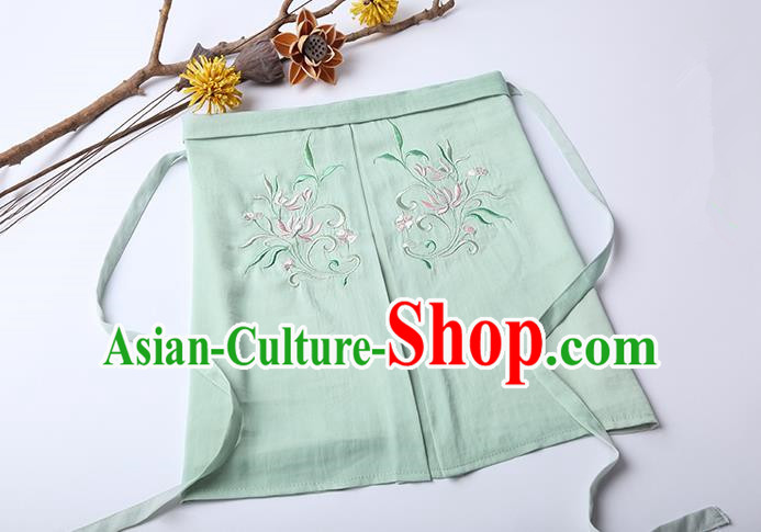 Traditional Ancient Chinese Costume Chest Wrap, Elegant Hanfu Boob Tube Top Clothing Chinese Song Dynasty Embroidery Lotus Green Condole Belt for Women