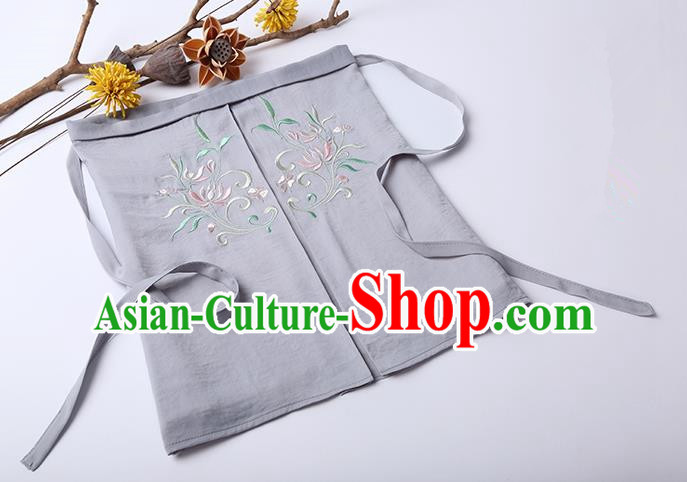 Traditional Ancient Chinese Costume Chest Wrap, Elegant Hanfu Boob Tube Top Clothing Chinese Song Dynasty Embroidery Lotus Grey Condole Belt for Women