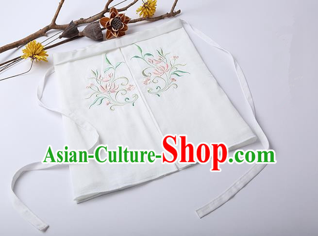 Traditional Ancient Chinese Costume Chest Wrap, Elegant Hanfu Boob Tube Top Clothing Chinese Song Dynasty Embroidery Lotus White Condole Belt for Women