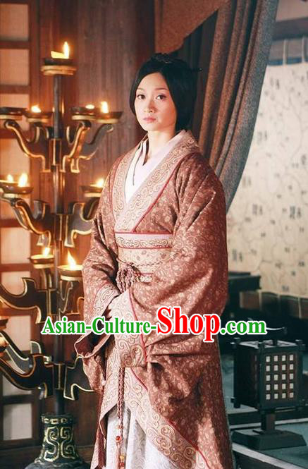 Traditional Ancient Chinese Imperial Consort Costume, Elegant Hanfu Dress Chinese Qin Dynasty Imperial Concubine Elegant Tailing Embroidered Clothing for Women