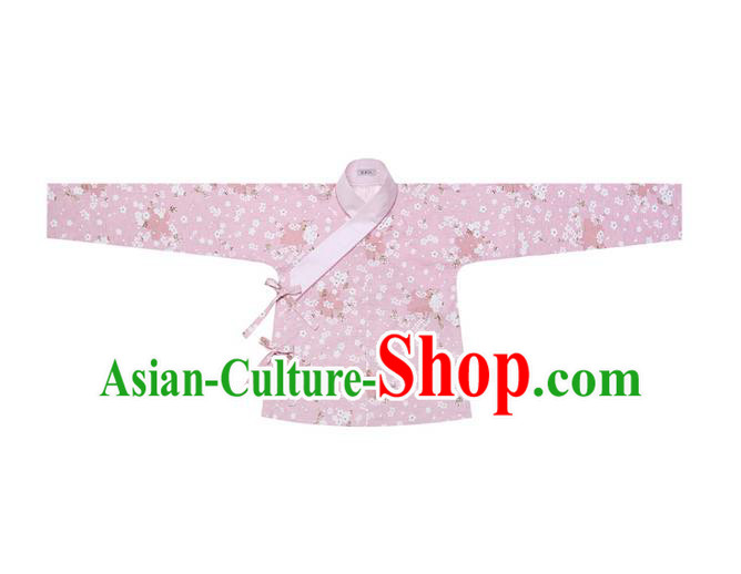 Traditional Ancient Chinese Female Costume Blouse, Elegant Hanfu Clothing Chinese Ming Dynasty Palace Lady Embroidered Oriental Cherry Pink Shirt Clothing for Women