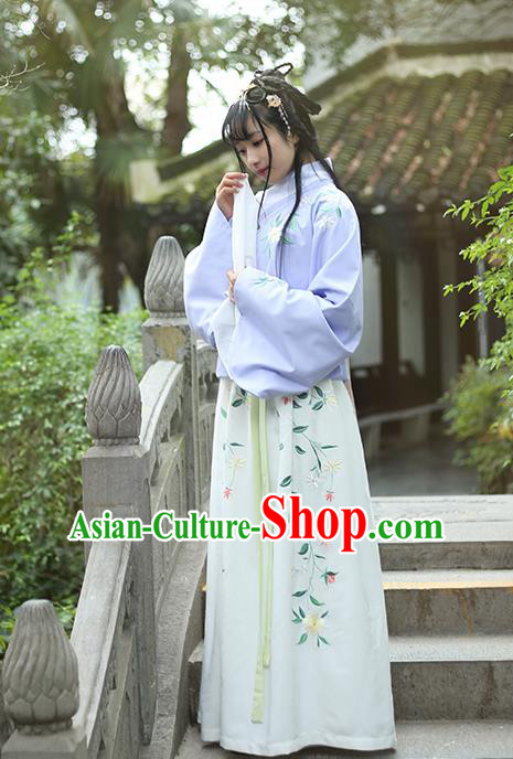 Traditional Ancient Chinese Female Costume Blouse and Dress Complete Set, Elegant Hanfu Clothing Chinese Ming Dynasty Palace Lady Embroidered Gardenia Clothing for Women