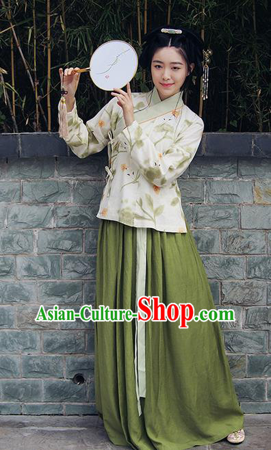 Traditional Ancient Chinese Female Costume Blouse and Skirt Complete Set, Elegant Hanfu Clothing Chinese Ming Dynasty Palace Lady Clothing for Women
