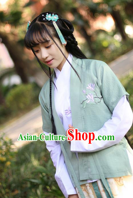 Traditional Ancient Chinese Female Costume Cardigan, Elegant Hanfu Coat Chinese Ming Dynasty Palace Lady Embroidered Mangnolia Clothing for Women