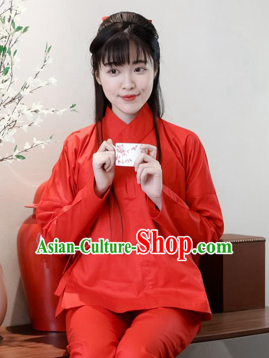 Traditional Ancient Chinese Female Costume Red Blouse and Pants Underpants Complete Set, Elegant Hanfu Underpants Clothing Chinese Ming Dynasty Palace Lady Clothing for Women