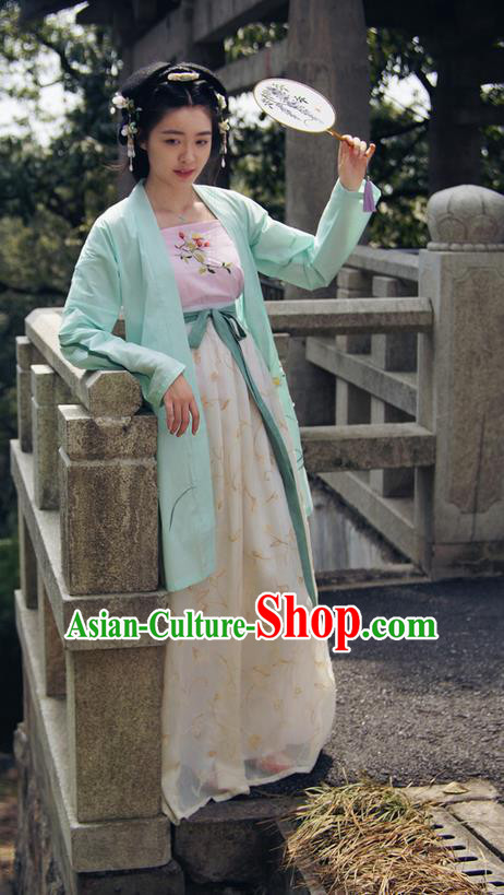 Traditional Ancient Chinese Female Costume Cardigan and Dress Complete Set, Elegant Hanfu Clothing Chinese Ming Dynasty Palace Lady Embroidered Daffodil Clothing for Women