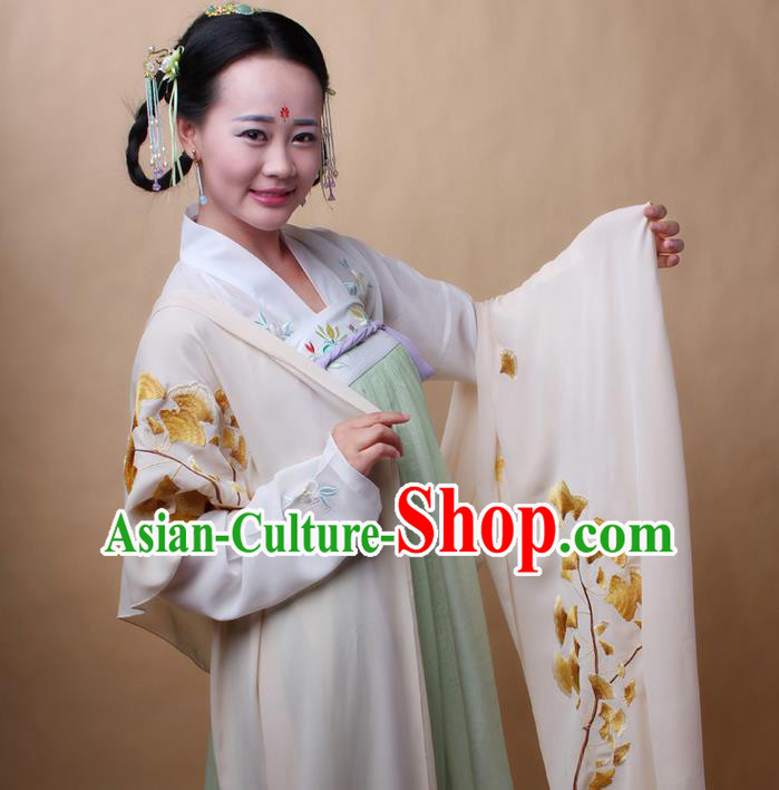 Traditional Ancient Chinese Female Costume Cardigan Wide Cappa, Elegant Hanfu Brocade Scarf Chinese Ming Dynasty Palace Lady Embroidered Ginkgo Wearing Silks Clothing for Women