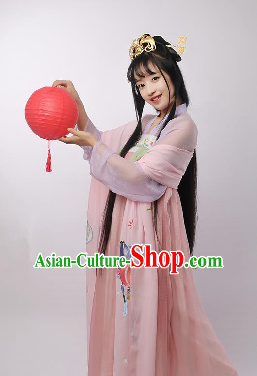 Traditional Ancient Chinese Female Costume Cardigan Wide Cappa, Elegant Hanfu Brocade Scarf Chinese Ming Dynasty Palace Lady Embroidered Lantern Wearing Silks Clothing for Women