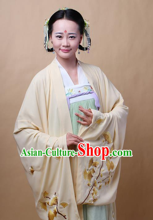 Traditional Ancient Chinese Female Costume Cardigan, Elegant Hanfu Clothing Chinese Ming Dynasty Palace Lady Embroidered Ginkgo Wide Sleeve Cappa Clothing for Women