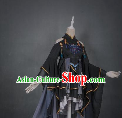 Traditional Asian Chinese Swordman Costume, Elegant Hanfu Dance Clothing, Chinese Imperial Princess Tailing Embroidered Clothing, Chinese Fairy Princess Empress Queen Cosplay Costumes for Women