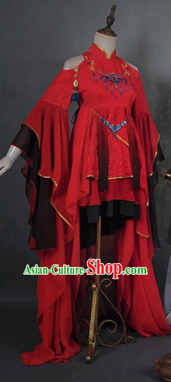 Traditional Asian Chinese Princess Costume, Elegant Hanfu Dance Wide Sleeves Red Dress, Chinese Imperial Princess Tailing Embroidered Clothing, Chinese Cosplay Fairy Princess Empress Queen Cosplay Costumes for Women