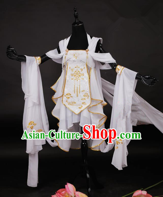 Traditional Asian Chinese Ancient Princess Costume, Elegant Hanfu Dance Water Sleeves Clothing, Chinese Imperial Princess Embroidered Clothing, Chinese Fairy Princess Empress Cosplay Costumes for Women