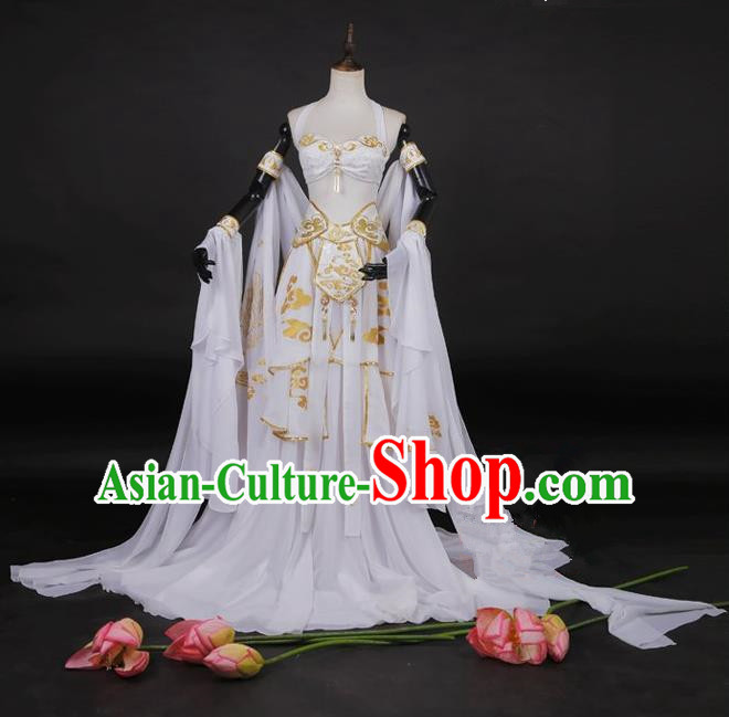 Traditional Asian Chinese Dunhuang Flying Apsaras Costume, Elegant Hanfu Dance Water Sleeves Dress, Chinese Imperial Princess Tailing Printing Fancy Carp Clothing, Chinese Cosplay Fairy Princess Empress Queen Cosplay Costumes for Women