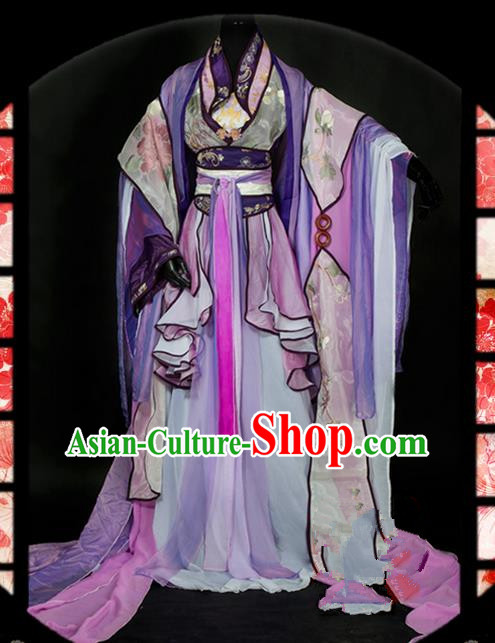 Traditional Asian Chinese Ancient Palace Princess Costume, Elegant Hanfu Swordsman Dress, Chinese Imperial Princess Tailing Embroidered Clothing, Chinese Fairy Princess Empress Queen Cosplay Costumes for Women