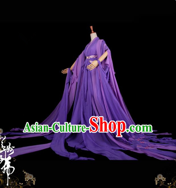 Traditional Asian Chinese Ancient Palace Princess Costume, Elegant Hanfu Water Sleeve Violet Dress, Chinese Imperial Princess Tailing Clothing, Chinese Cosplay Fairy Princess Empress Queen Cosplay Costumes for Women