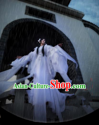 Traditional Asian Chinese Ancient Palace Princess Feather Costume, Elegant Hanfu Water Sleeve White Dance Dress, Chinese Imperial Princess Tailing Embroidered Clothing, Chinese Cosplay Fairy Princess Empress Queen Cosplay Costumes for Women