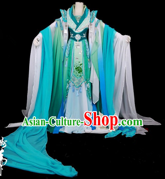 Traditional Ancient Chinese Swordsman Costume, Elegant Hanfu Cosplay Fairy Deep Blue Wide Sleeve Dress Chinese Han Dynasty Imperial Empress Scales Embroidery Tailing Clothing for Women