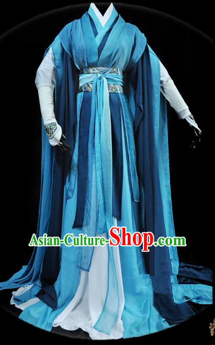 Traditional Asian Chinese Ancient Nobility Childe Costume, Elegant Hanfu Blue Dress, Chinese Imperial Prince Tailing Clothing, Chinese Cosplay Swordsman Costumes for Men