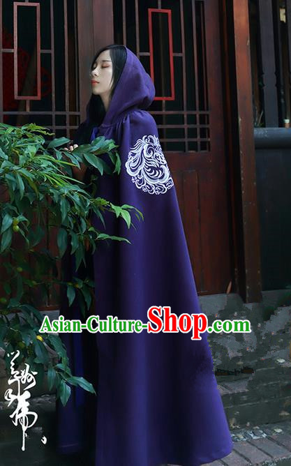 Traditional Asian Chinese Ancient Princess Cloak Costume, Elegant Hanfu Mantle Clothing, Chinese Imperial Princess Embroidered Phoenix Hooded Cape Costumes for Women