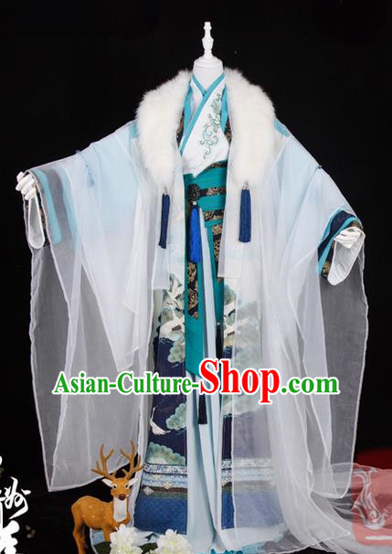 Traditional Ancient Chinese Palace Queen Costume, Elegant Hanfu Cosplay Fairy Wide Sleeve Dress Chinese Tang Dynasty Imperial Empress Embroidery Crane Phoenix Tailing Clothing for Women