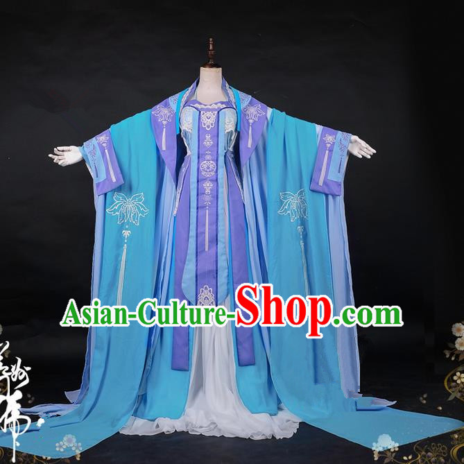 Traditional Ancient Chinese Imperial Consort Costume, Elegant Hanfu Cosplay Fairy Wide Sleeve Dress, Chinese Tang Dynasty Imperial Empress Embroidery Lotus Tailing Clothing for Women